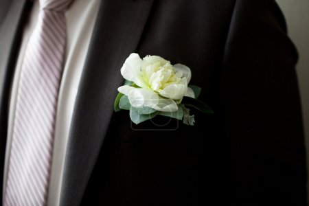 Wedding Boutonniere On Suit Jacket