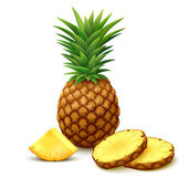 Pineapple with slices on white background