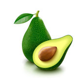 Avocado with slice on white background