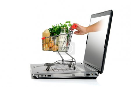 Photo for Hand pushing a small shopping cart from laptop screen isolated in white - Royalty Free Image