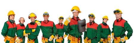 Photo pour Ouvriers grande équipe isolée en blanc - image libre de droit