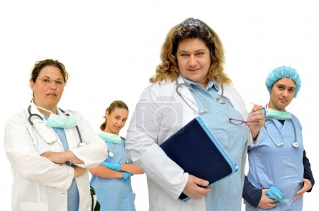 Photo for Female doctors team isolated in white - Royalty Free Image