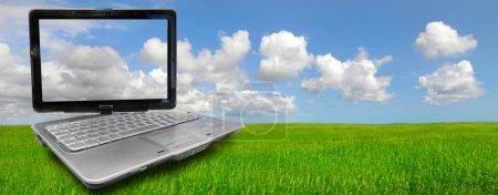 Photo pour Beau champ vert avec ciel nuageux bleu - image libre de droit