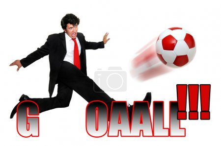 Photo for Young businessman kicking a soccer ball with the word goal solated in white - Royalty Free Image