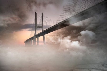 Photo for Illustration of Vasco da Gama bridge in Lisbon, Portugal - Royalty Free Image