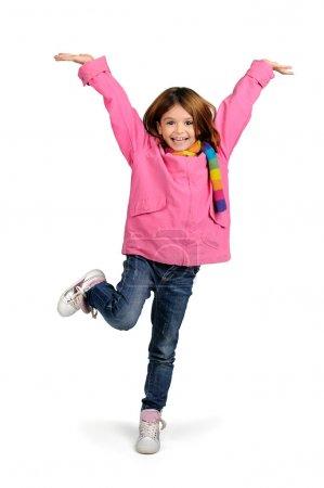 Photo pour Jeune fille sautant isolé en blanc - image libre de droit