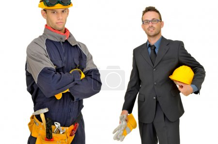Photo for Engineer and worker isolated in white - Royalty Free Image