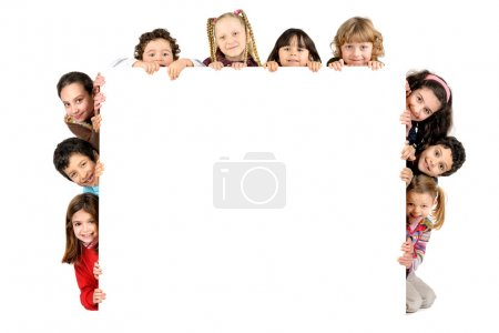 Photo for Group of children with a white board isolated in white - Royalty Free Image
