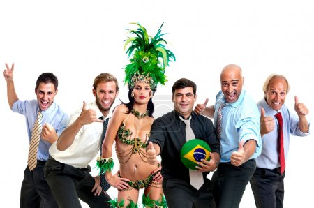Businessmen and brazilian carnaval dancer with soccer ball