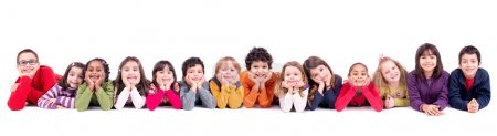 Photo for Group of children posing isolated in white - Royalty Free Image