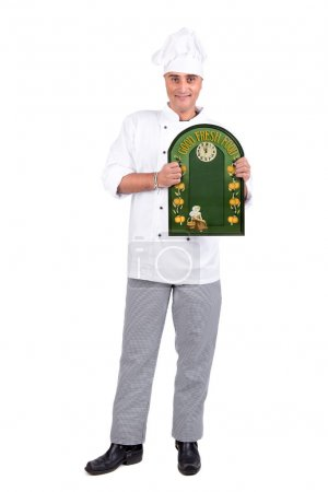 Photo for Male Chef with a menu board - Royalty Free Image