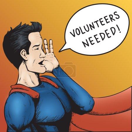 Illustration for Volunteers Wanted! Superhero Need Help! Colorful Cartoon Vector Illustration. - Royalty Free Image