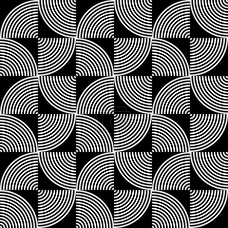 Illustration for Black and White Psychedelic Circular Textile Pattern. Vector Illustration. - Royalty Free Image