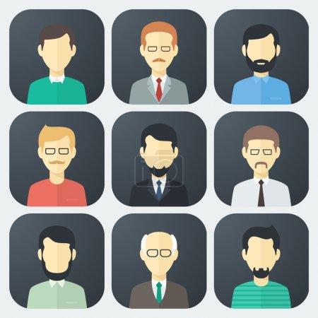 Illustration pour Icônes colorées visage masculin App Set dans le style plat à la mode - image libre de droit