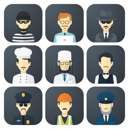 Illustration pour Ensemble d'icônes plates App avec l'homme de différentes professions - image libre de droit