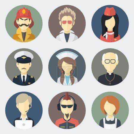 Photo pour Ensemble d'icônes plates de cercle avec l'homme de différentes professions - image libre de droit