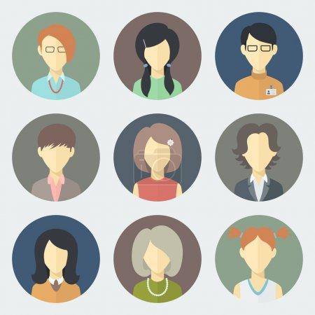 Illustration pour Icônes colorées de cercle de visages féminins réglées dans le style plat à la mode - image libre de droit