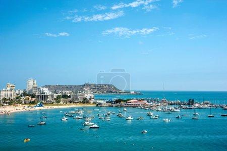 Salinas beach with apartment buildings and yacht club in Ecuador
