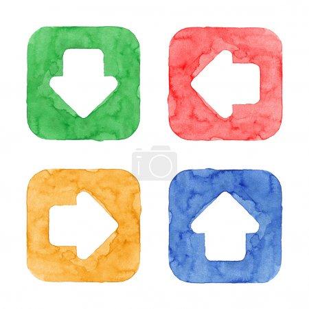 Photo pour Bouton fléché icône internet avec signe. Vert, rouge orange, bleu forme carrée arrondie isolée sur fond blanc. Photo créée en aquarelle technique artisanale. Élément de conception Web Interface utilisateur UI - image libre de droit