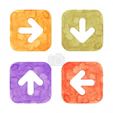 Arrow icon button with sign. Orange, green, violet, red isolated rounded square shape on white background. This image created in watercolor handmade technique. Web design element UI user interface