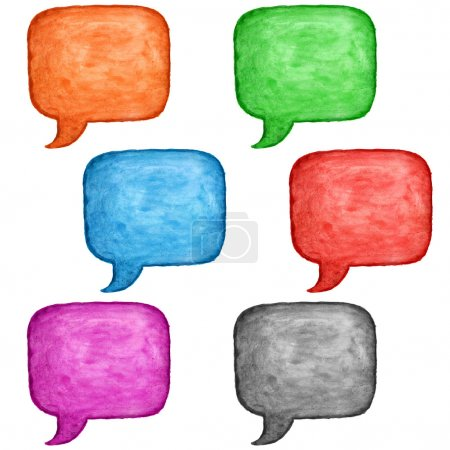 6 watercolor blank speech bubble dialog square shape on white background. Colored handmade technique aquarelle template. Empty copy-space for your text, signs or design