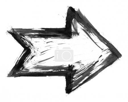 Black ink sketch arrow isolated on white background created paint brush stroke in watercolor handmade technique.