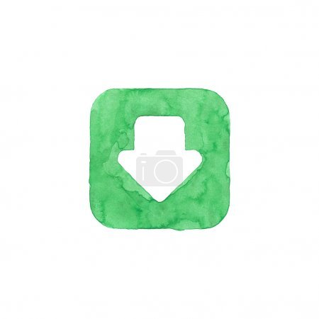 Arrow icon green button with download sign. Isolated rounded square shape on white background created in watercolor handmade technique. Colored web design element UI user interface
