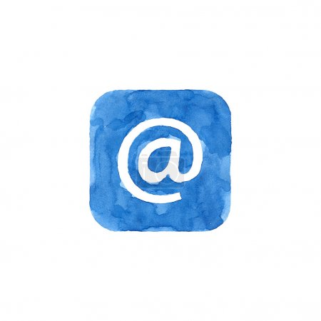 Icon blue button with at sign. Isolated rounded square shape on white background created in watercolor handmade technique. Colored web design element UI user interface