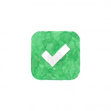 Check mark icon green button with sign. Isolated rounded square shape on white background created in watercolor handmade technique. Colored web design element UI user interface