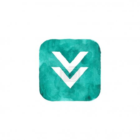 Download icon green button with sign. Isolated rounded square shape on white background created in watercolor handmade technique. Colored web design element UI user interface