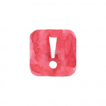 Attention icon red button with exclamation mark sign. Isolated rounded square shape on white background created in watercolor handmade technique. Colored web design element UI user interface
