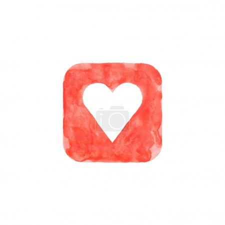 Heart icon red button with favorite sign. Isolated rounded square shape on white background created in watercolor handmade technique. Colored web design element UI user interface