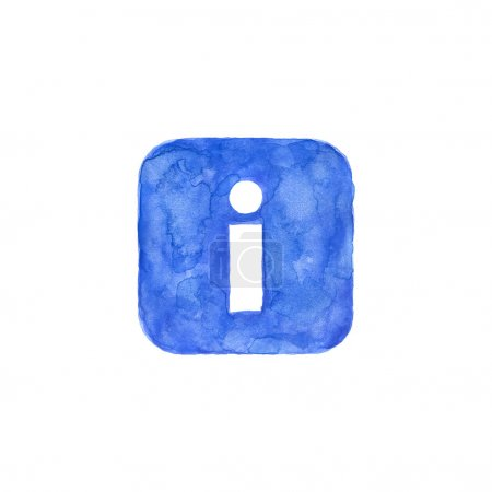 Information icon blue button with sign. Isolated rounded square shape on white background created in watercolor handmade technique. Colored web design element UI user interface