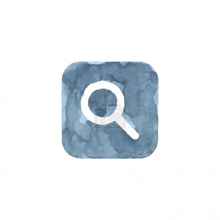 Magnifier icon blue button with sign. Isolated rounded square shape on white background created in watercolor handmade technique. Colored web design element UI user interface