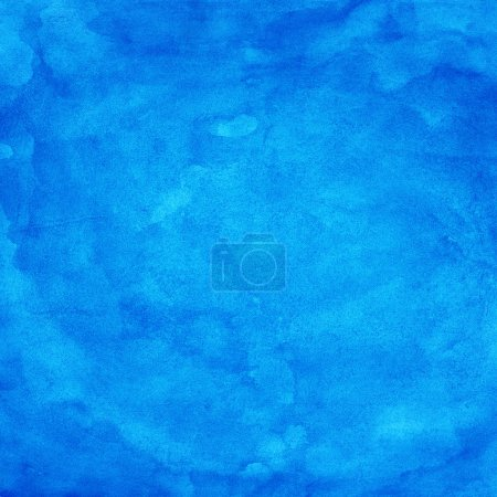 Photo for Blue watercolor texture. Color abstract aquarelle background. Handmade technique. - Royalty Free Image