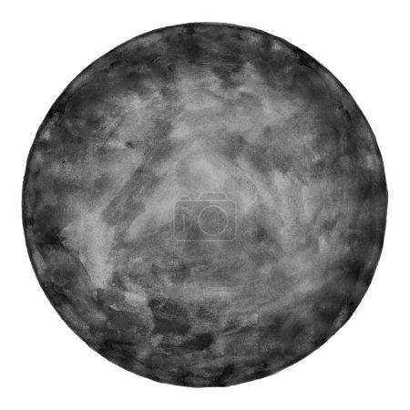 Photo pour Aquarelle vierge forme ronde. Cercle de couleur noire isolé sur fond blanc. Aquarelle abstraite texturée à la main . - image libre de droit