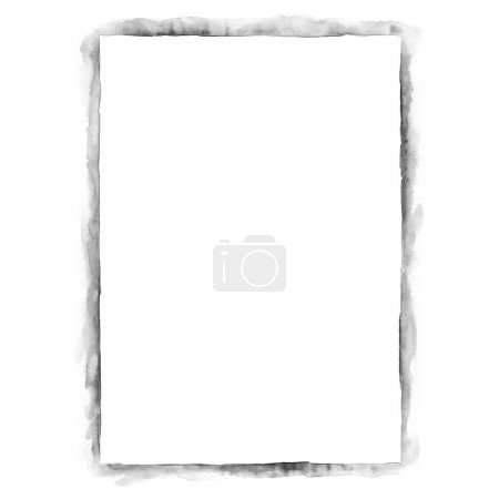Photo pour Feuille de papier blanc vierge pour la présentation de l'image de marque. Couleur en niveaux de gris isolé sur fond blanc. Texture aquarelle abstraite créée à la main . - image libre de droit
