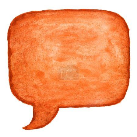 Orange watercolor blank speech bubble dialog square shape on white background