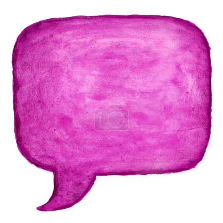 Pink watercolor blank speech bubble dialog square shape on white background