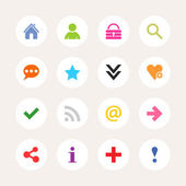 16 popular white icon with basic sign Simple circle shape internet button on gray background