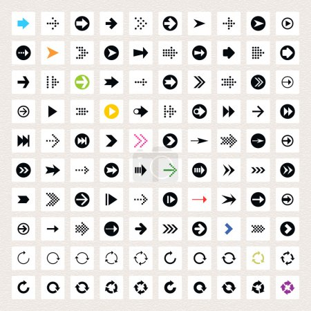 100 arrow sign icon set. Black pictogram on white circle shapes. Modern simple minimal, flat, solid, mono, monochrome, plain, contemporary style. Vector illustration web internet design element 8 eps