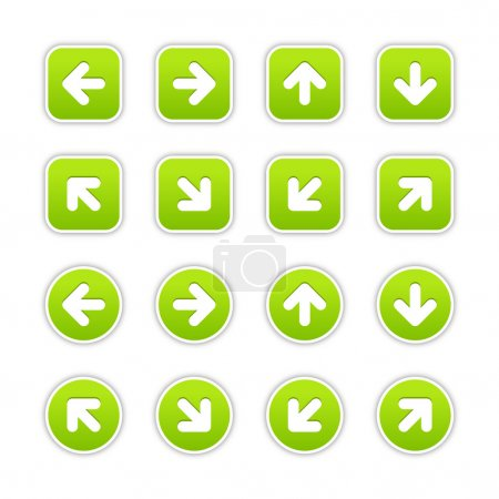 Green stickers with arrow sign. Circles and rounde...