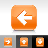 Orange glossy web button with white arrow sign Rounded square shape icon with shadow and reflection on white gray and black background