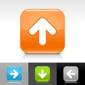 Blue green gray and orange glossy web button with white arrow sign Rounded square shape icon with shadow and reflection on white gray and black background