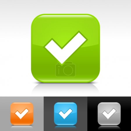 Green, orange,blue, gray glossy web button with black check mark sign.