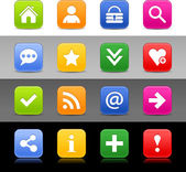16 web button with basic sign Satin series icon Rounded square shapes with shadow reflection Green orange blue yellow red color on white black gray backgrounds Vector illustration 8 eps