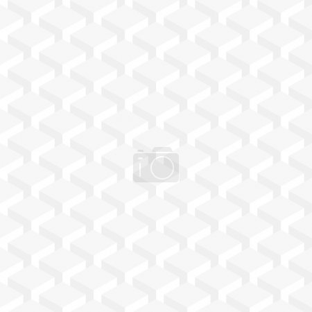 Illustration for Seamless pattern white background. Retro old wallpaper with repetition geometric shape. Light gray surface with 3-D effect cubes in perspective. - Royalty Free Image