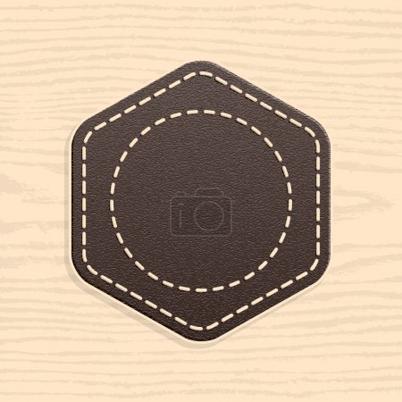 Blank leather badge in retro vintage style. Rounded hexagon shape on wood texture pattern background. Template Satisfaction Guaranteed and Premium Quality labels