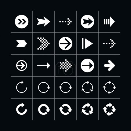 25 arrow sign icon set