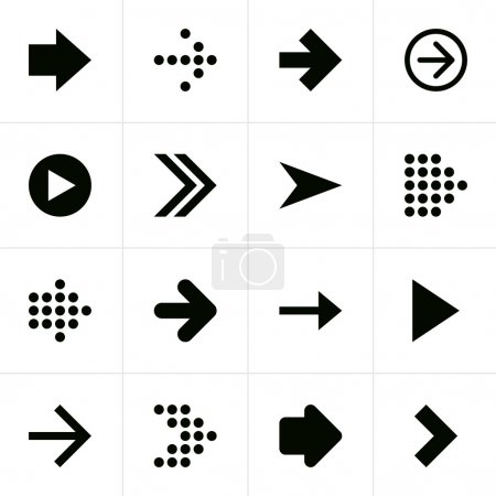 16 arrow sign pictogram set